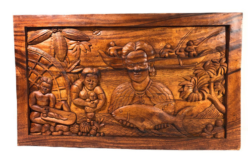 "Hawaiian Fisherman Storyboard Relief 40"" - Hand Carved 