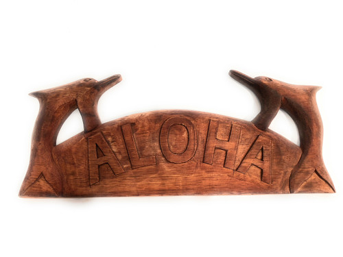 """Aloha Sign w/ Carved Dolphins 12"""" - Tropical Decor 