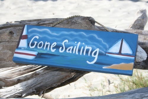 """Gone Sailing Wooden Sign 14"""" - Hand Painted 