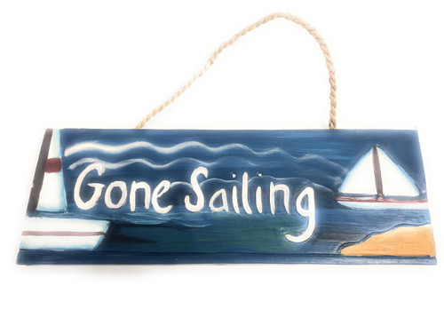 "Gone Sailing Wooden Sign 14"" - Hand Painted 