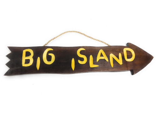 "Big Island Arrow Driftwood Sign 20"" - Tropical Decor 