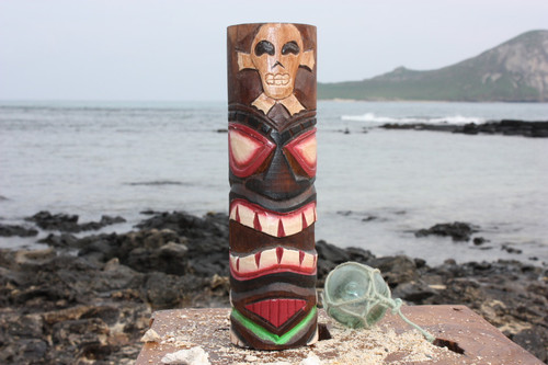 "Tiki Totem 8"" w/ Cross Bone - Skull Decor 