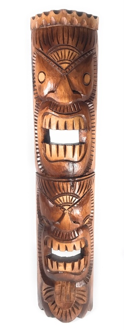 "Love/Ocean Tiki Mask 40"" - Antique Finish 