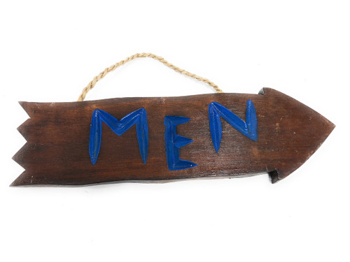 "Men Arrow Driftwood Sign 12"" - Tropical Decor 