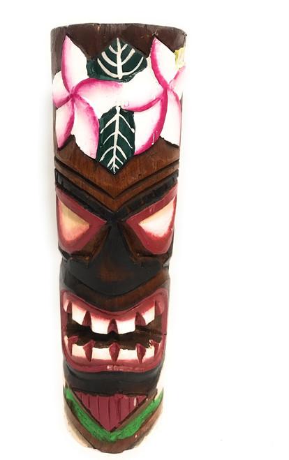 "Tiki Totem 10"" w/ Plumeria Flowers - Hand Carved | #dpt535825a"