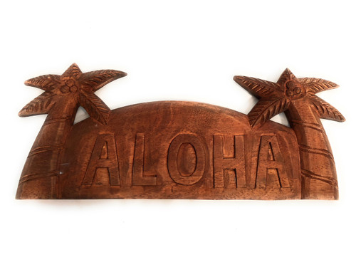 "Aloha Sign 14"" w/ Palm Trees - Hand Carved 