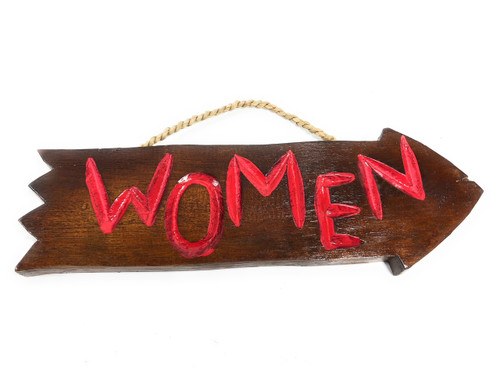 "Women Arrow Driftwood Sign 12"" - Tropical Decor 