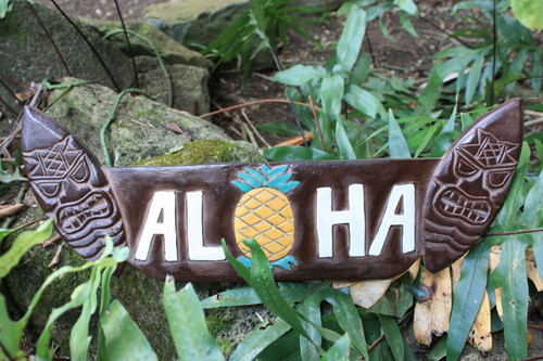 "Aloha Sign w/  Tikified Surfboards 20"" - Surf Decor 