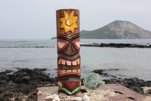 """Tiki Totem 10"""" w/ Sunny Hawaii - Hand Carved & Painted 