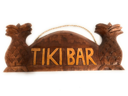 "Tiki Bar Sign 14"" w/ Palm Trees - Tropical Decor 