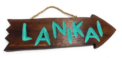 "Lanikai Arrow Driftwood Sign 12"" - Tropical Decor 