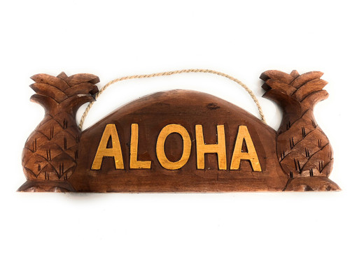 "Aloha Sign w/ Pineapple 14"" - Tropical Decor 