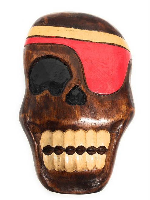 "Holly Skully Pirate Head Wall Plaque 8"" - Pirate Decor 