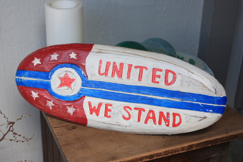 """United We Stand Patriotic Sign 20"""" Wooden - Texas Decor Accent 