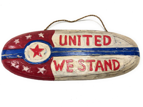 "United We Stand Patriotic Sign 20"" Wooden - Texas Decor Accent 