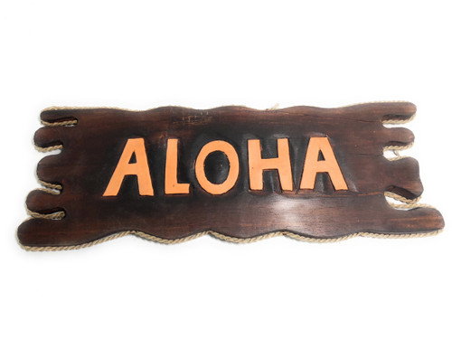 "Aloha Driftwood Sign 20"" - Distress Island Style Decor 