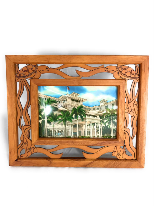 """Photo Frame w/ Laser Cut Sea Turtles 4""""X6"""" Picture 
