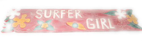 "Surfer Girl Sign 40"" - Rustic Pink w/ Plumeria Flowers 
