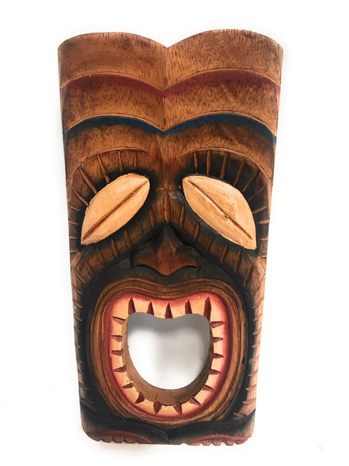 """Laughing Tiki Mask 12"""" - Wall Plaque Hand Carved 