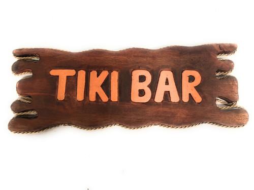 "Tiki Bar Distress Sign 20"" - Driftwood Tropical Decor 