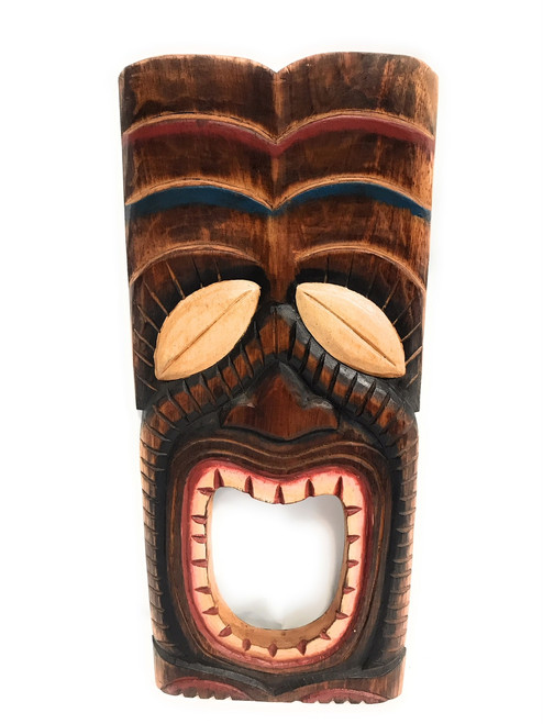 "Laughing Tiki Mask 20"" - Wall Plaque Hand Carved 