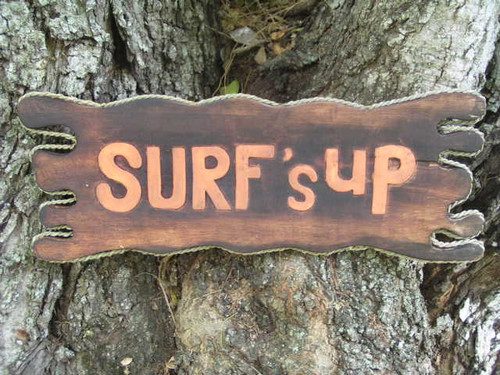 "Surf's Up Driftwood Sign 20"" - Surfing Decor 