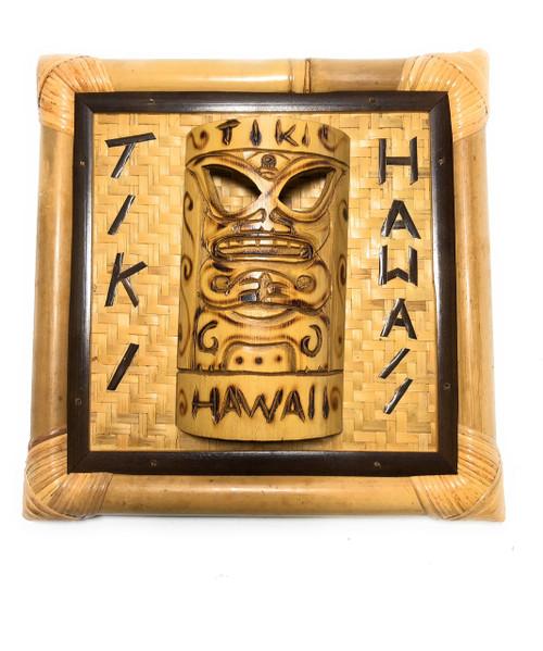 "Tiki, Hawaii Bamboo Sign w/ Mask 12"" X 12"" - Wall Decor | #bag1500530"