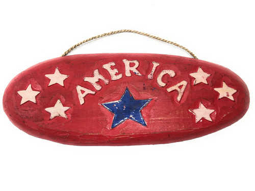"America Patriotic Sign 20"" Wooden - Texas Decor Accent 