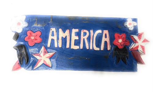 "Americana Sign America Aloha Style - Hand Carved 12"" Texas 