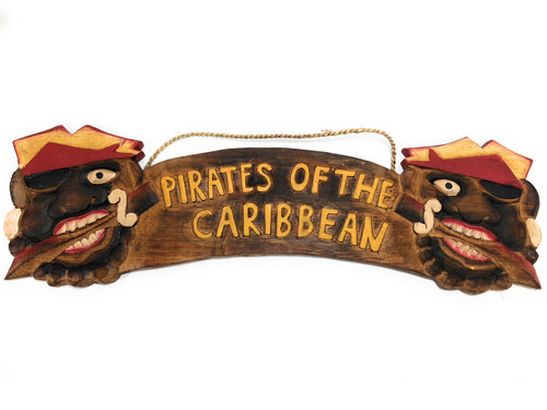 "Pirates Of The Caribbean Sign 24"" - Pirate Decor - Hand Carved 