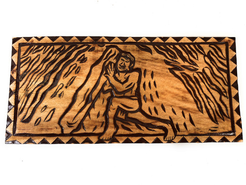 "The Nana Stone Wood Panel 30"" X 12"" King Kamehameha - Polynesian Wall Art 