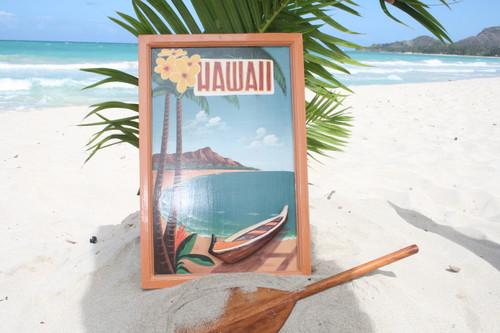 """VINTAGE SIGN """"HAWAII"""" HAWAIIAN CANOE - 24"""" X 16"""" HAWAIIAN SURF DECOR"""