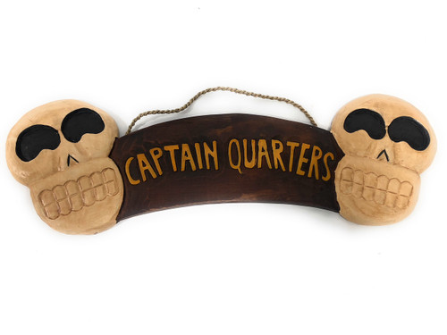"Captain Quarters Sign 24"" w/ Skulls - Crossbones Decor 