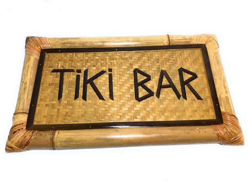 "Tiki Bar bamboo Sign 22"" X 12"" - Tropical Decor 