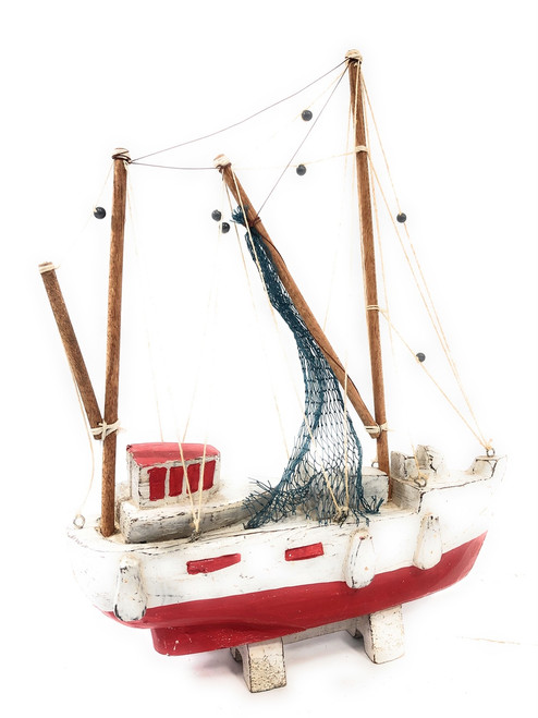 "Fishing Boat Replica 20"" Wooden - Red Nautical Decor 