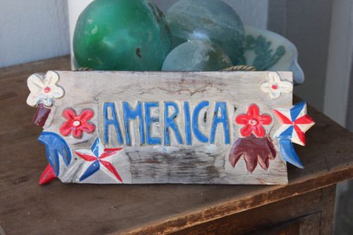 "Texas Americana Sign w/ Aloha - Hand Carved 12"" | #dpt530630"