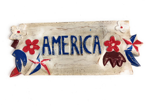 Texas Americana Sign w/ Aloha - Hand Carved 12"