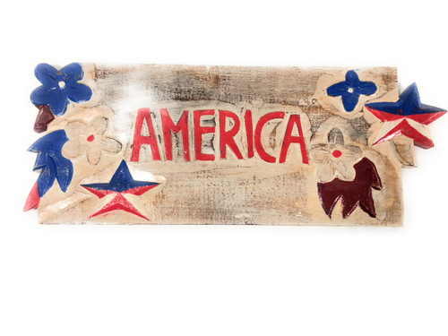 Texas Americana Sign America w/ Aloha - Hand Carved 20"
