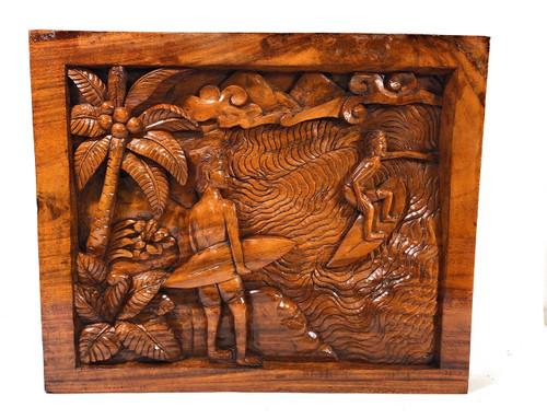 "Waimea Bay, Surf Scene 24"" X 20"" Wooden Relief - Polynesian Art | #bla604360a"