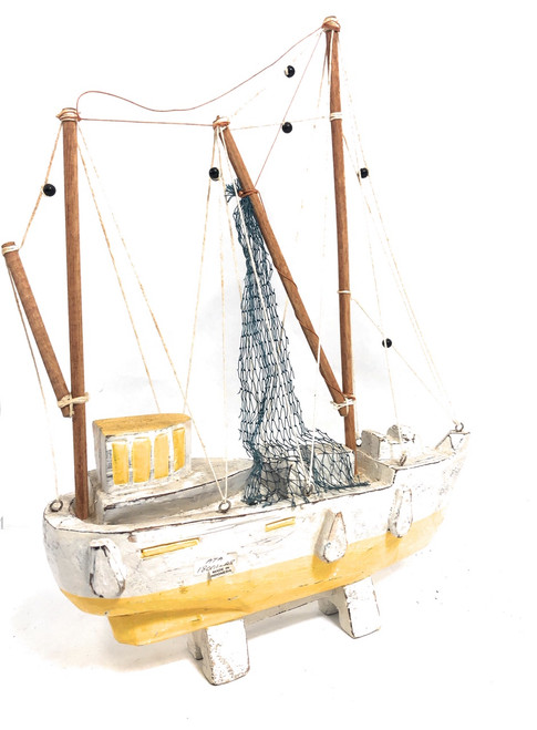 "Fishing Boat Replica 20"" Wooden - Yellow Nautical Decor 