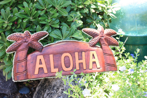 """Aloha Sign 14"""" w/ Palm Trees and Rope - Tropical Decor 