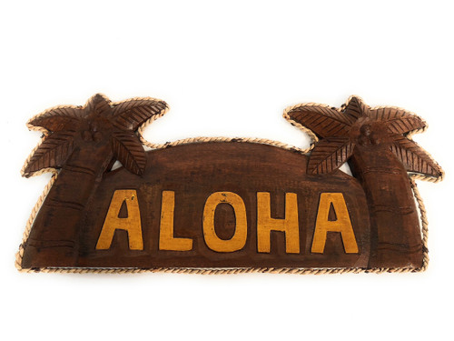 "Aloha Sign 14"" w/ Palm Trees and Rope - Tropical Decor 