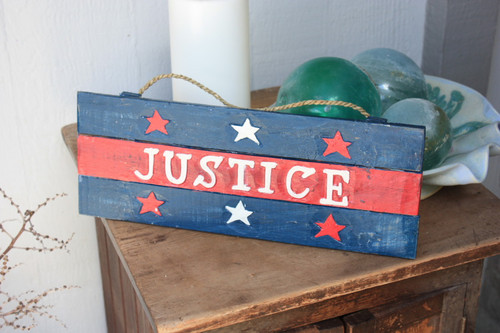 "Americana Sign Justice on Planks 16"" - Texas Decoration 