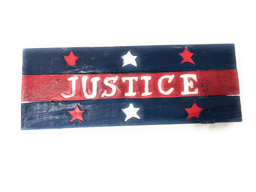 """Americana Sign Justice on Planks 16"""" - Texas Decoration 