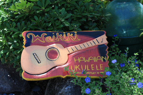 """Waikiki, Hawaiian Ukulele"" Replica Vintage Sign 16""   #DPT526940"