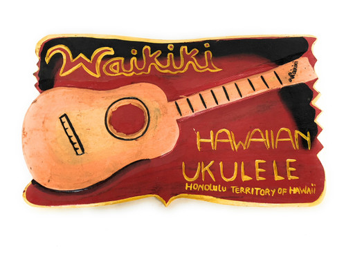 """Waikiki, Hawaiian Ukulele"" Replica Vintage Sign 16"" 