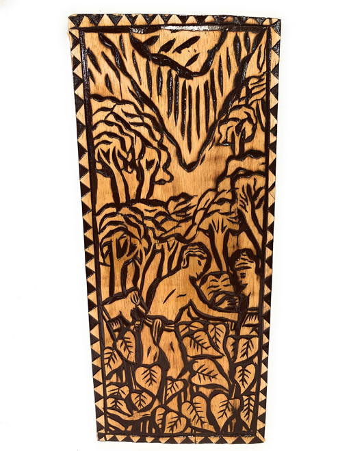 "The Final Days: Taro Field Wood Panel 30"" X 12"" King Kamehameha - Polynesian Wall Art 