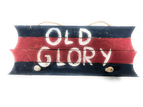 "Americana Sign/Hanger ""Old Glory"" on Planks 16"" - 2 Pegs 