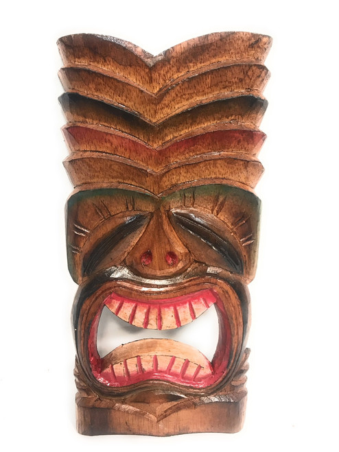 "Big Kahuna Tiki Mask 12"" Wall Plaque - Hand Carved 