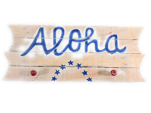 "Americana Sign/Hanger ""Aloha"" on Planks 16"" - 2 Pegs | #dpt530940"